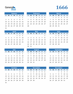 Image of 1666 1666 Calendar Blue with No Borders