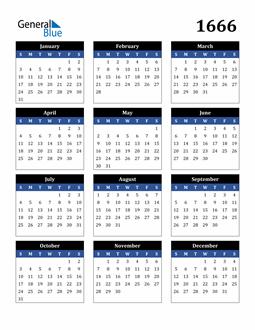 Image of 1666 1666 Calendar Stylish Dark Blue and Black