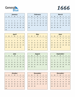 Image of 1666 1666 Calendar with Color
