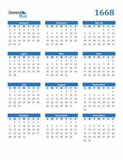 Image of 1668 1668 Calendar Blue with No Borders
