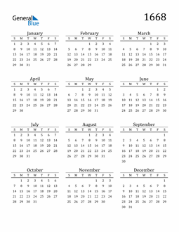 Image of 1668 1668 Printable Calendar Classic