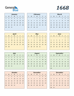 Image of 1668 1668 Calendar with Color