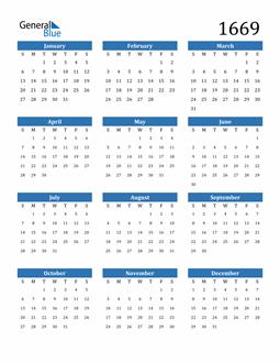 Image of 1669 1669 Calendar