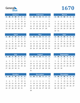 Image of 1670 1670 Calendar Blue with No Borders