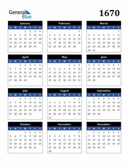 Image of 1670 1670 Calendar Stylish Dark Blue and Black