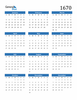 Image of 1670 1670 Calendar