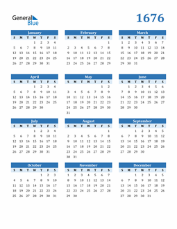 Image of 1676 1676 Calendar Blue with No Borders