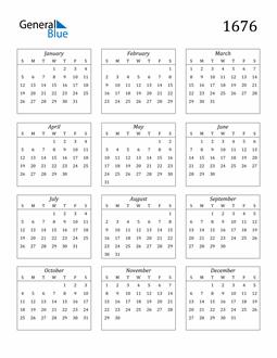 Image of 1676 1676 Calendar Streamlined