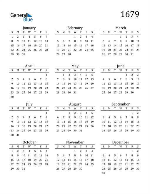 Image of 1679 1679 Printable Calendar Classic