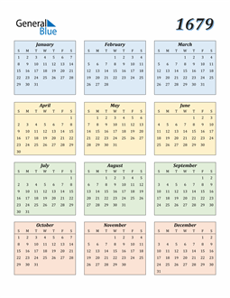 Image of 1679 1679 Calendar with Color