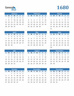 Image of 1680 1680 Calendar Blue with No Borders