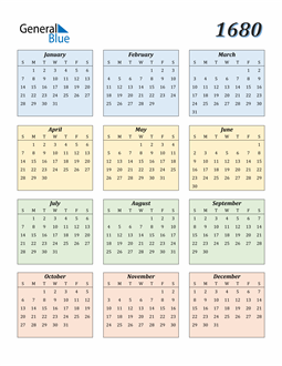 Image of 1680 1680 Calendar with Color