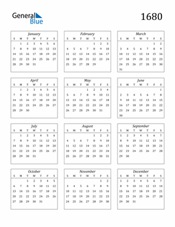 Image of 1680 1680 Calendar Streamlined