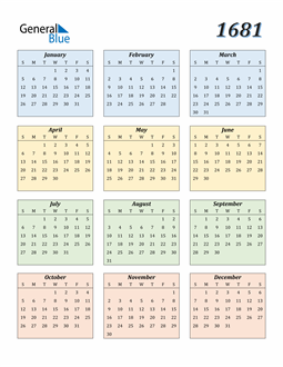 Image of 1681 1681 Calendar with Color