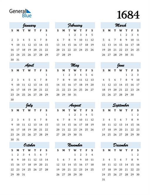 Image of 1684 1684 Calendar Cool and Funky