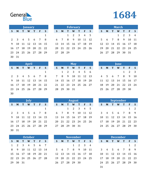 Image of 1684 1684 Calendar Blue with No Borders