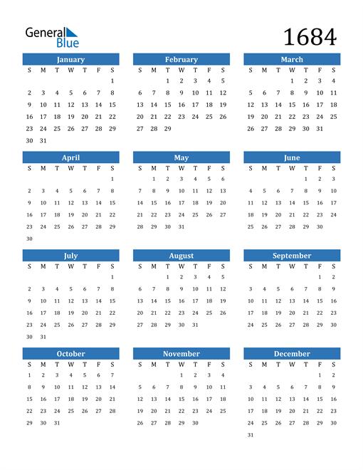 Image of 1684 1684 Calendar