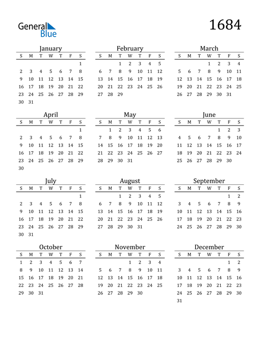 Image of 1684 1684 Printable Calendar Classic