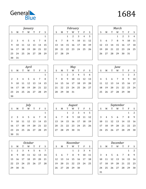 Image of 1684 1684 Calendar Streamlined