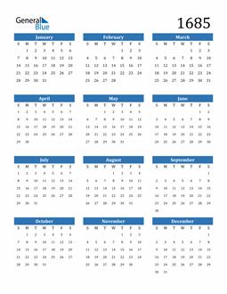 Image of 1685 1685 Calendar