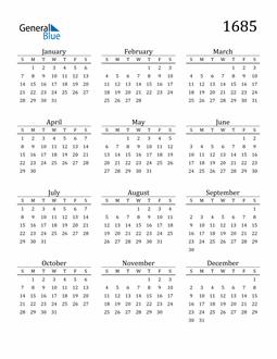 Image of 1685 1685 Printable Calendar Classic