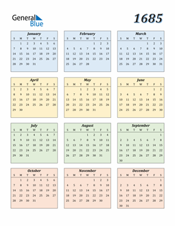 Image of 1685 1685 Calendar with Color