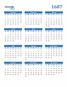 Image of 1687 1687 Calendar Blue with No Borders