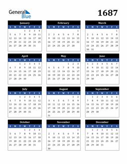 Image of 1687 1687 Calendar Stylish Dark Blue and Black