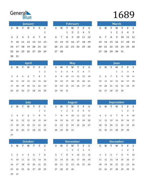 Image of 1689 1689 Calendar