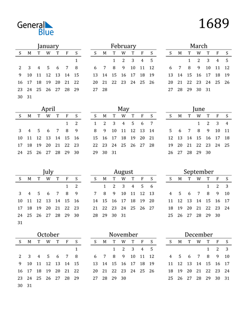 Image of 1689 1689 Printable Calendar Classic