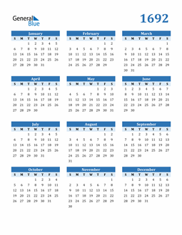Image of 1692 1692 Calendar Blue with No Borders