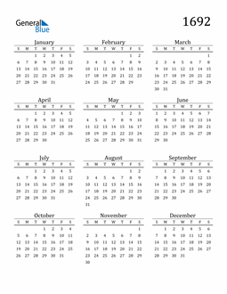 Image of 1692 1692 Printable Calendar Classic