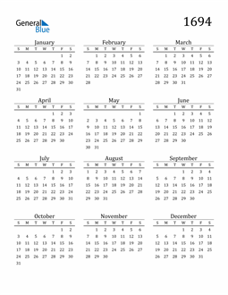 Image of 1694 1694 Printable Calendar Classic