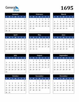 Image of 1695 1695 Calendar Stylish Dark Blue and Black