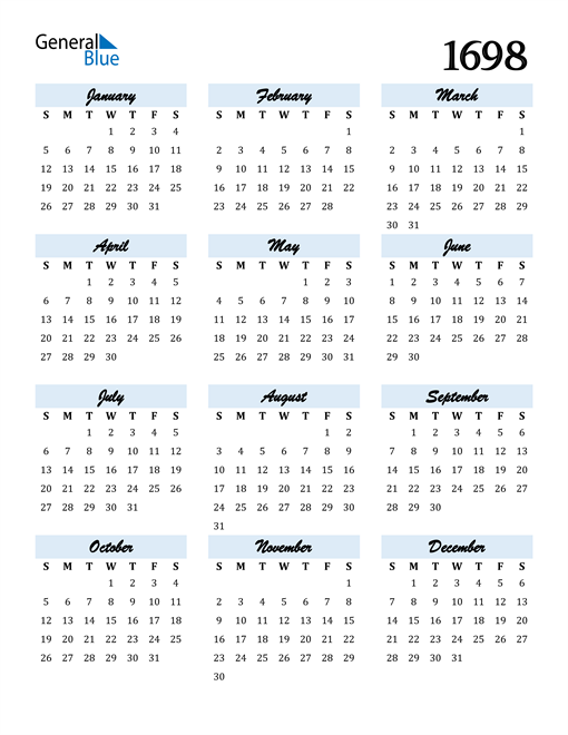 Image of 1698 1698 Calendar Cool and Funky