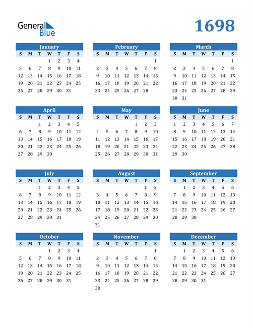 Image of 1698 1698 Calendar Blue with No Borders
