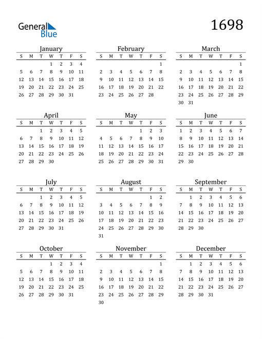 Image of 1698 1698 Printable Calendar Classic