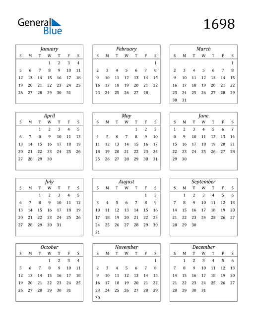 Image of 1698 1698 Calendar Streamlined