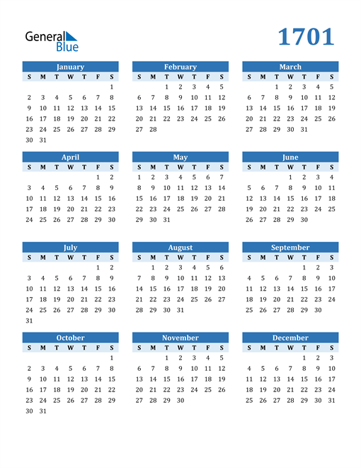 Image of 1701 1701 Calendar Blue with No Borders