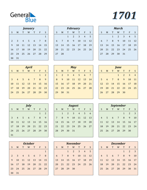 Image of 1701 1701 Calendar with Color