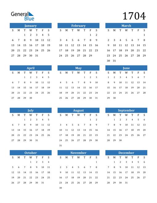 Image of 1704 1704 Calendar