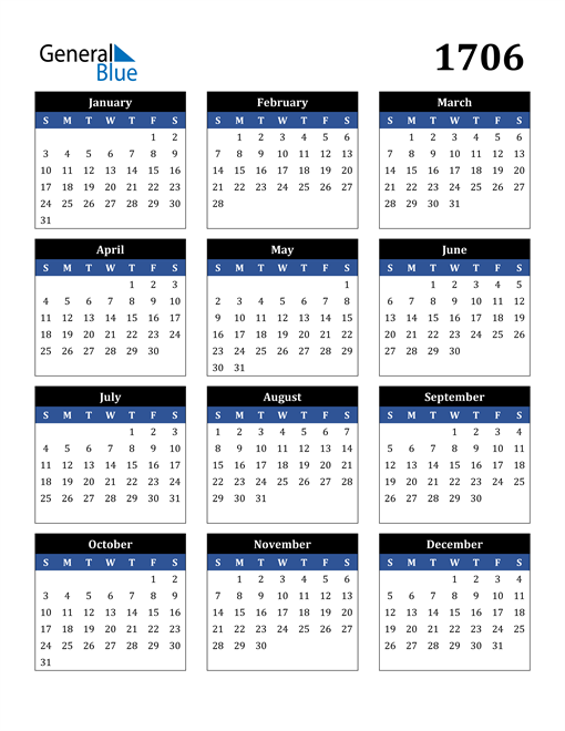 Image of 1706 1706 Calendar Stylish Dark Blue and Black