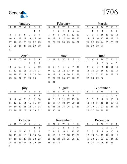 Image of 1706 1706 Printable Calendar Classic