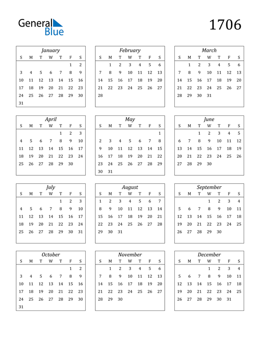 Image of 1706 1706 Calendar Streamlined