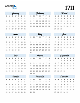 Image of 1711 1711 Calendar Cool and Funky