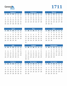 Image of 1711 1711 Calendar Blue with No Borders