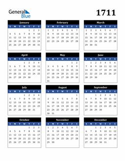 Image of 1711 1711 Calendar Stylish Dark Blue and Black