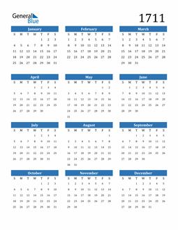Image of 1711 1711 Calendar