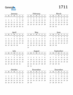 Image of 1711 1711 Printable Calendar Classic