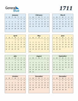 Image of 1711 1711 Calendar with Color